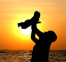 kid and parent sunset